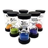 Sanduhren-Set, Colorful Zeitmesser/Timer für Kinder, Sanduhren, Glas, für Kinder, 1 Set mit 1 min, 3min, 5 min, 10 min 15 min 30 Min