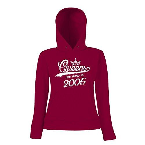 Queens are born in 2005 Premiumhoody | Geburtstags-Hoody | Jahrgang | 12. Geburtstag | Frauen | Kapuzenpullover Dunkelrot