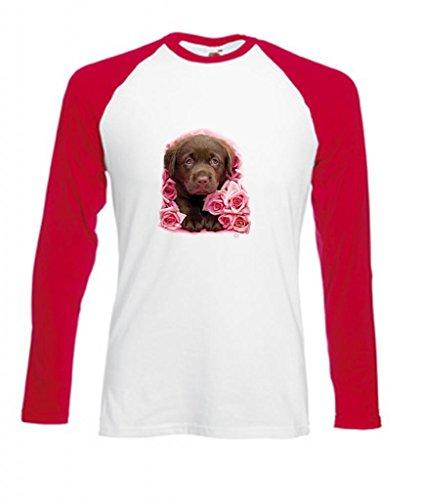 Erwachsene Schokolade Tee T-shirt (Simply Tees Einfach Tees Schokolade Labrador Puppy Georgie Erwachsene Long Sleeve Baseball T-Shirt Gr. XX-Large, Weiß/Rot)