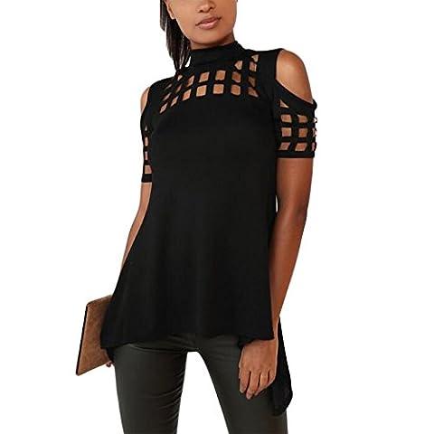 Damen Hollow back hip split hochgeschlossen ärmellos T-shirt blusenbody top tops blusen Oberteile oberteil (S, schwarz)