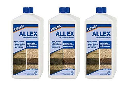Lithofin ALLEX 3 l - Grünbelag-Entferner Algen- und Moosentferner - Ideal zum vorbeugen gegen grüne & rutschige Beläge