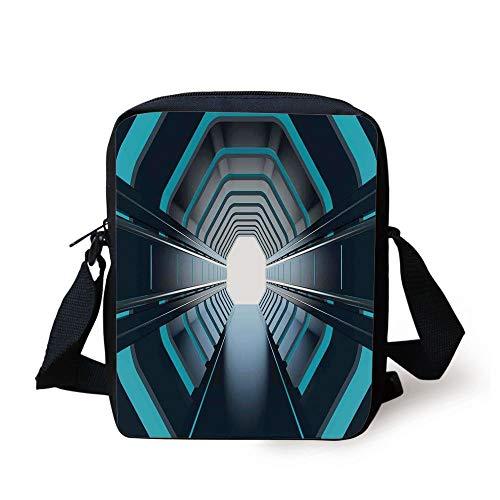 Outer Space Decor,Tunnel with Neon Lights Passage Mercury Lunar Orbit Inspired Stardust Art,Blue Black Print Kids Crossbody Messenger Bag Purse