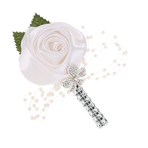 Baoblaze Anstecker Gästeanstecker Anstecknadel Hochzeitsanstecker - weiße Rose