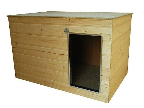 hundeinfo24.de Isolierte Hundehütte Sonderserie mittel, Flachdach, Eingang auf der Längsseite