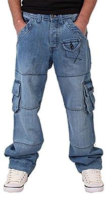 Peviani Mens Boys Cargo Combat Denim Star Jeans Time Is Loose Hip Hop Money Urban Baggy