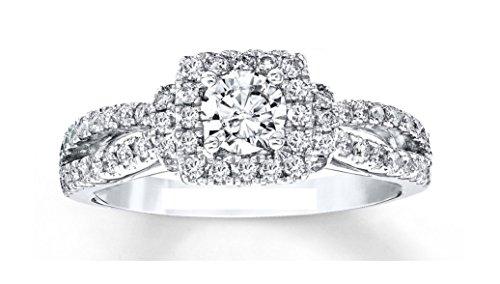 1.84ct amor colección 14K Sólido Oro Blanco Diamante Princesa de corte redondo azul zafiro anillo de compromiso, boda, todos los UK tamaño J a Z disponible
