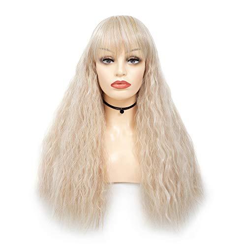 Blonde Volle Kappe (Länge Light Gold Gerade Perücke Volle Kappe Mode Blonde Perücke für Frauen Mädchen Cosplay Party)