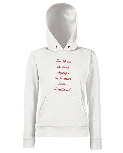 T-Shirtshock - Sweats a capuche Femme TDM00258 sono 20 anni che faccio shopping Blanc