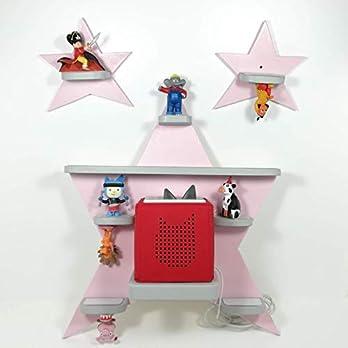 Tonie Board, Sternen Set *Farbwahl* mit grauen Regalen, ideale Aufbewahrung für Tonie Box und Tonie Figuren, Kinderzimmer Regal, Deko Board, Musikboxaufbewahrung, Hängeregal
