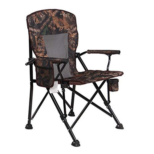 CGF-Faltstuhl Klappstuhl Klappstuhl Camping Stuhl Schwerelosigkeit Portable Angeln Wandern Picknick Garten Zusammenklappbar Outdoor Tragetasche, Camouflage + Mesh, Gewicht 150kg