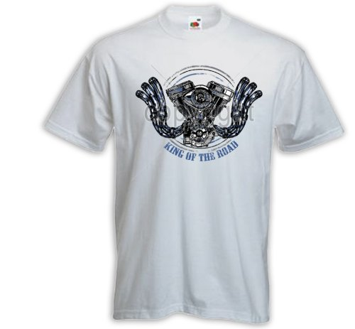 Biker T-Shirt King of the Road 2 weiß Motorcycle Bike Racing USA Weiß
