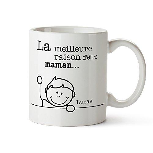 Tasse imprimée - Meilleures raisons Maman - Mug personnalisé avec noms - Tasse à café individuelle blanche comme cadeau d'anniversaire - Idées cadeau pour maman - Cadeau de fête des mères