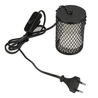 Zerodis Lampe Chauffante Céramique 100w pour Reptiles Lampe Chauffante Tortue avec Couvercle de Protection (EU-Black)