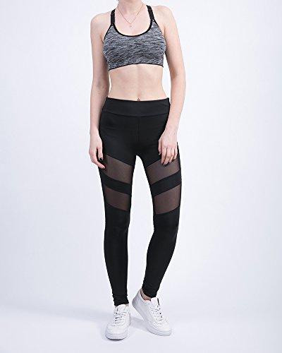 Femmes Yoga Aptitude Taille haute rayé Maigre pantalons Leggings à séchage rapide Conception creuse Transparent Pantalons de survêtement Noir