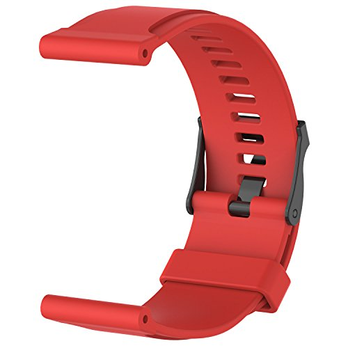 Red Rubber Strap (For Suunto Core Bands, ECSEM Replacement Silicone Suunto Core Accessory Strap Rubber Band Buckle - Red)