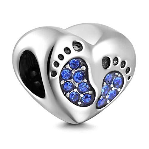 Charm in argento sterling 925 con cuore in argento sterling con ciondolo a forma di cuore in cristallo zaffiro con collana di braccialetti europei
