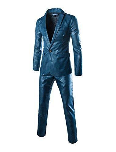 sourcingmap Uomo di prima qualità Bavero Scozzese Motivi Un Pulsante Closed Giacca pantaloni w Completi - cotone, Blu, 50% cotone 100% poliestere 50% poliestere, Uomo, S (US 36)