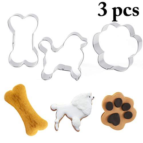 Justdolife 3PCS Ausstecher Set Knochen Hund Pfote Form Candy Mold Plätzchenform FüR Weihnachten