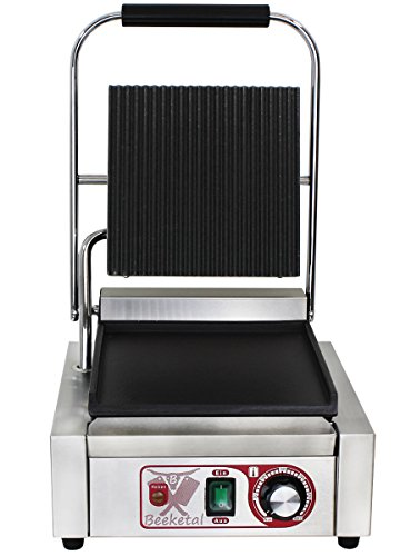 Beeketal \'BKG2\' Gastro Kontaktgrill mit Gusseisen Grillpatten (oben gerillt unten glatt) mit Fettauffangschale, Profi Edelstahl Elektrogrill ideal als Panini Grill Maker oder Sandwich Toaster