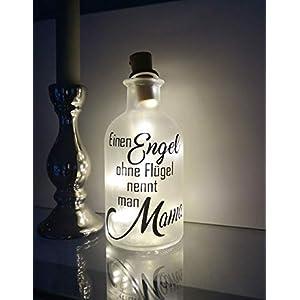 AScreativ Dekoflasche mit Beleuchtung Muttertag * Beleuchtung * Flaschenlicht * Bottlelight – Engel Mama Statement Spruch Flasche