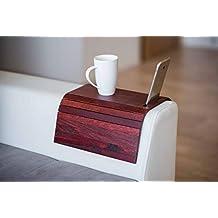 Bandeja de madera para sofá con protectores de reposabrazos, sofá, mesa, posavasos,