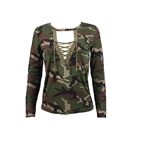 AMUSTER Nuove Donne Top Manica Lunga Camicia Camicetta Camicia Casual Sottile Camouflage Stampa (S)