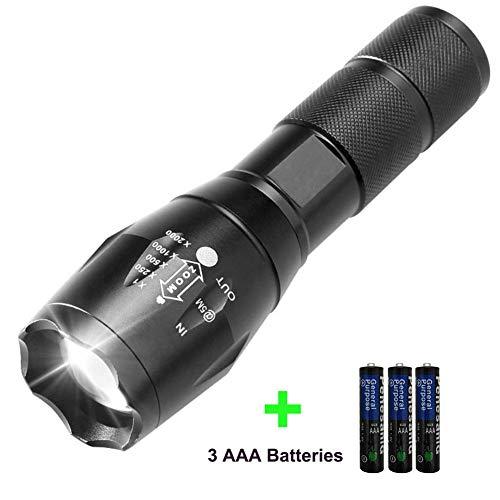 Lampe de poche à LED - Lampe torche étanche à 5 modes de poche ultra-lumineuse réglable - Lampe à main focalisée T6 avec 3 piles AAA pour la pêche au camping, randonnée, usage domestique, 1000 lumens