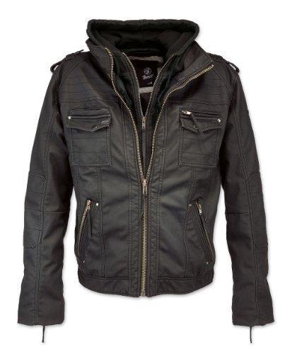 Brandit Black Rock Vintage Leather Jacket Herren Jacke, Schwarz L