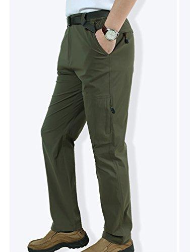 Baymate Uomo Taglia Grossa Tempo Libero Escursionismo Mozione Pantalone Rilassato Pantaloni Verde scuro