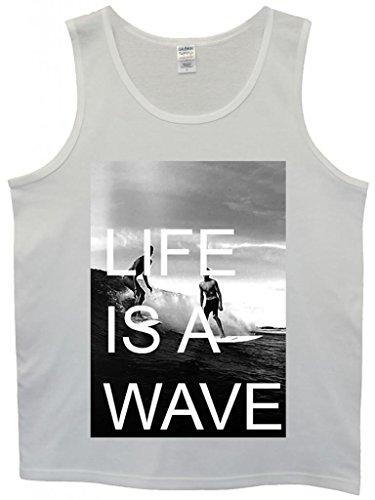 Life is a Wave Surfing Surfer Stack Cool Funny Hipster Swag White Weiß Herren Men Unterhemd Tank Top Vest-Medium