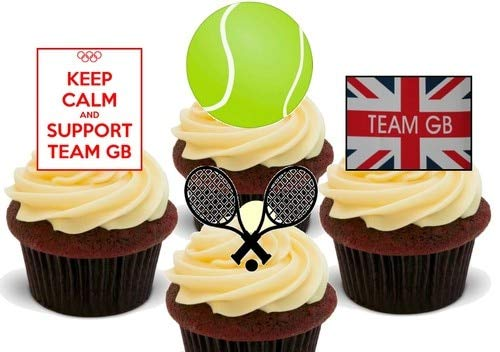 Olympia Team GB Tennis Mix - 12 essbare hochwertige stehende Waffeln Karte Kuchen Toppers Dekorationen, Olympics Team GB Tennis Mix - 12 Edible Stand Up Premium Wafer Card Cake Toppers Decorations -