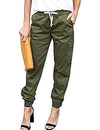 Damen Gummizug Taille Freizeithose Lockere Cargo Hose Mit Bündchen Am Bein 8883cefa4d