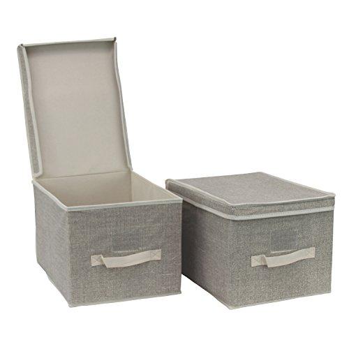 2er Set Aufbewahrungsbox Sortierbox Faltbox mit Deckel und Beschriftungsfenster - Kleiderschrank Organizer Organisationssystem Aufbewahrung Kiste (L)