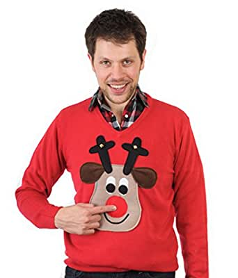 Woolly Babs V neck Rudolph Christmas Jumper (Beige Face):XS-Red