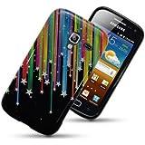 Etui de créateur pour Samsung Galaxy Ace 2 i8160 - Etui / Coque / Housse de protection noir en TPU/gel/silicone avec motif étoile arc-en-ciel (motif étoile jaune, rouge, bleue, rose, violette, verte)