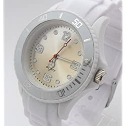 White/White Ladies/Girls Silicone Watch. 38mm Dial. 16-21cm Strap. Rotating Bezel