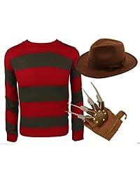 MIXLOT Frauen Fancy Dress Halloween Freddy Krueger Kostüm Claw Haut Streifen Pullover Nightmare Halloween