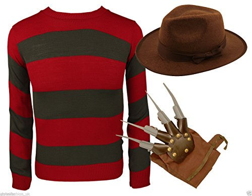 MIXALOT Frauen Fancy Dress Halloween Freddy Krueger Kostüm Claw Haut Streifen Pullover Nightmare Halloween (M/L 40-42, Freddie Krueger (Film Fancy Charakter Dress)