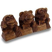 see, hear, Speak no Evil Three Sitting Monkeys hand-carved statua - Male Scimmie Sagge