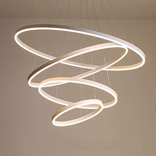 127W LED Dimmbar Hängeleuchte Modern Rund 4-Ring Design Kronleuchter Weiß Aluminium Acryl Pendelleuchte Höhenverstellbar Deckenleuchte Esszimmer Büro Eßtisch Wendeltreppe 20+ 40+60+80CM