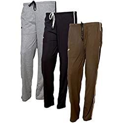 IndiWeaves Women's Premium Cotton Lower with 1 Zipper Pocket and 1 Open Pocket(Pack of 3)_Black::Blue::Grey-42