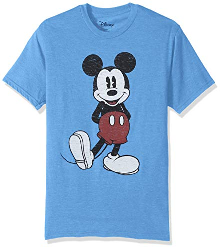 Disney Herren Full Size Mickey Mouse Distressed Look T-Shirt, Light Blue Heather, Groß - Distressed T-shirt