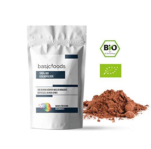 Basicfoods Kakao Pulver 1kg stark entölt Reines Kakaopulver 1000g - Ohne Gentechnik Vegan Vegetarisch und Glutenfrei