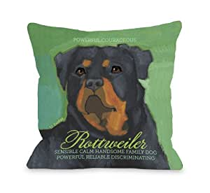Bentin Home Decor 10237PL18C Rottweiler 1 Pillow Cover, 18 by 18-Inch