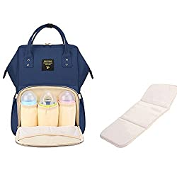 Sunveno Waterproof Multifunction Large Capacity Mummy Backpack Baby Diaper Nappy Changing Bag Shoulder Bag Backpack With Changing Mat(navy Blue)