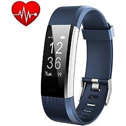 Pulsera Actividad,Monitor de Frecuencia Cardiáco, Pulsera Reloj Inteligente con Pulsómetro Impermeable IP67, Bluetooth 4.0, Podómetro, Notificación de SMS, Monitor de Ritmo Cardíaco,Monitor de Sueño, GPS, Control Remoto de Móvil para iOS 7.0 o Superior y Android 4.4 Teléfono móvil hombre mujer niños(Azul) - iPosible