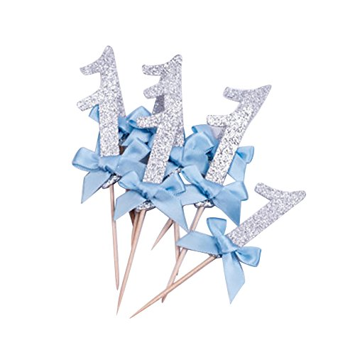 Greenlans Kuchendekoration glitzernde Nummer 1 mit Schleife, 12Stück,für Geburtstagstorte, Kuchen, Cupcake, Party-Zubehör, Silver+blue, Einheitsgröße