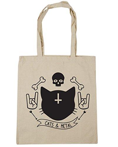 hippowarehouse-gatos-y-metal-tote-compras-bolsa-de-playa-42-cm-x38-cm-10-litros-beige-natural-talla-