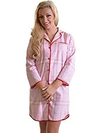 19ba36a458 Ladies Soft 100% Quality Brushed Cotton Pink Check Nightshirt with Red  Satin Trim and Button