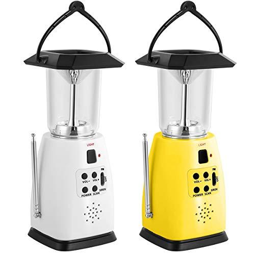 Solar Power Panel/Handkran Dynamo/USB/batteriebetriebene Outdoor Camping Lampe handliche LED Notlicht 2-Helligkeit mit FM-Radio (Color : White)
